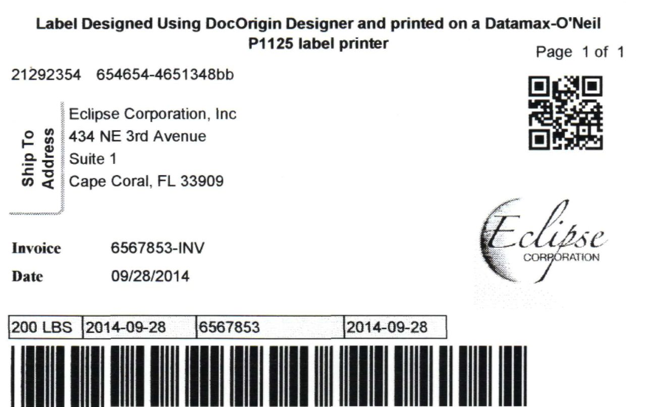 Sample Shipping Label Datamax ONeil