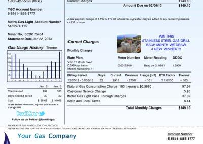 Sample Utility Gas Bill