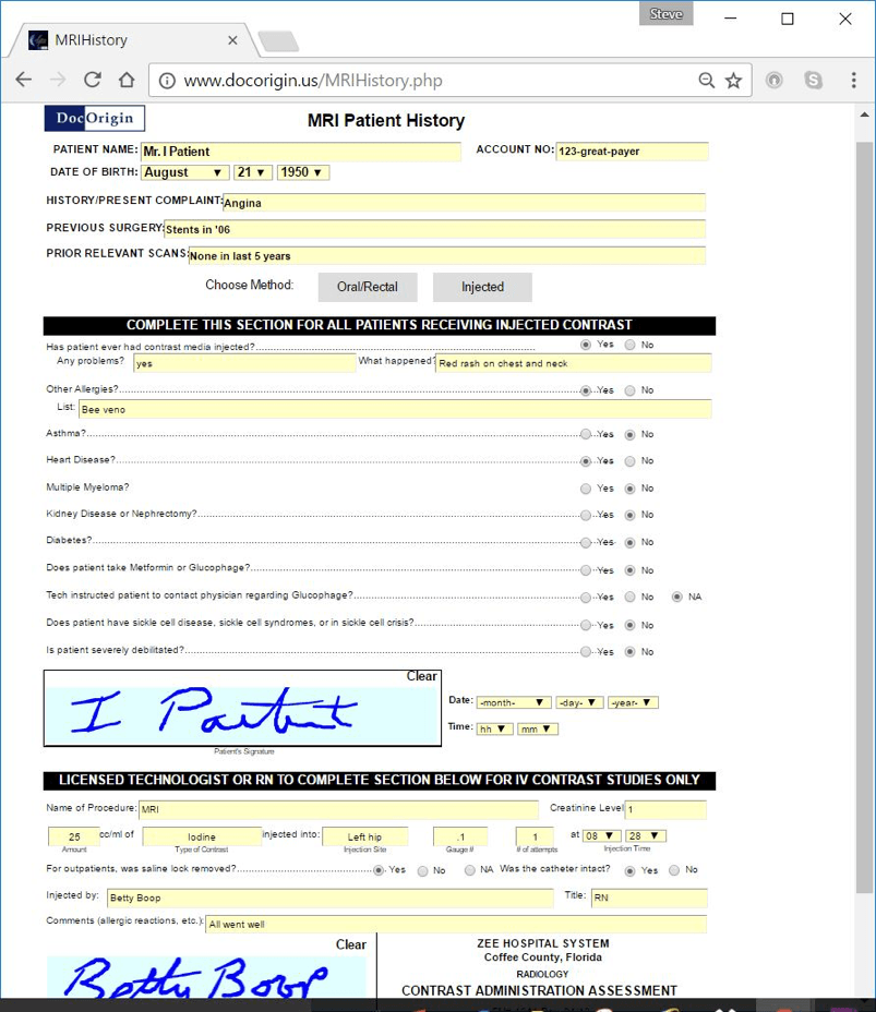 Screen shot showing a completed form with digital signature