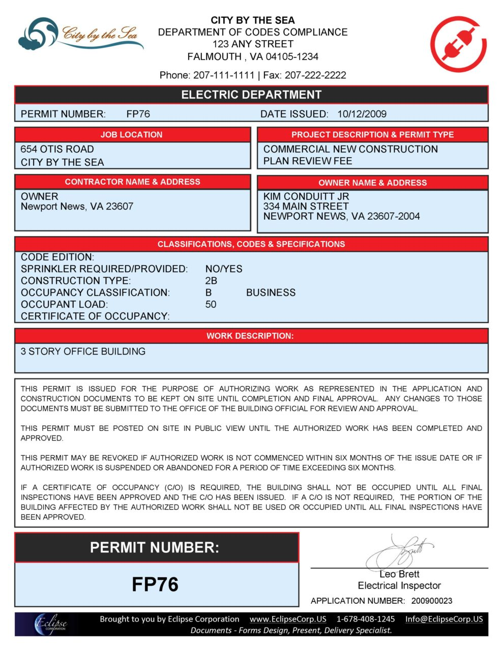 Sample Municipal Electric Permit