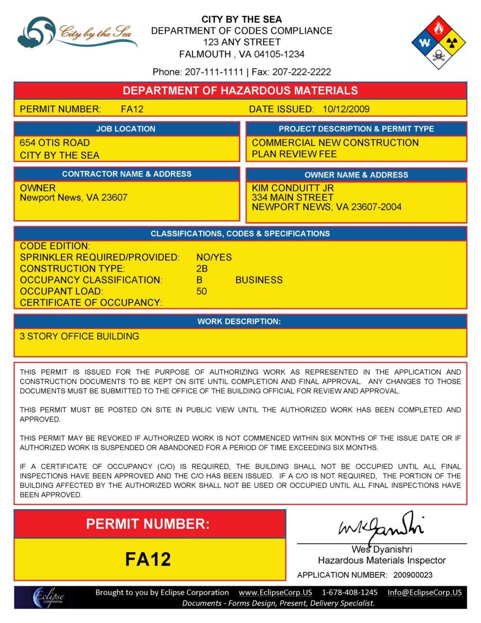 Sample Municipal Hazardous Materials Permit
