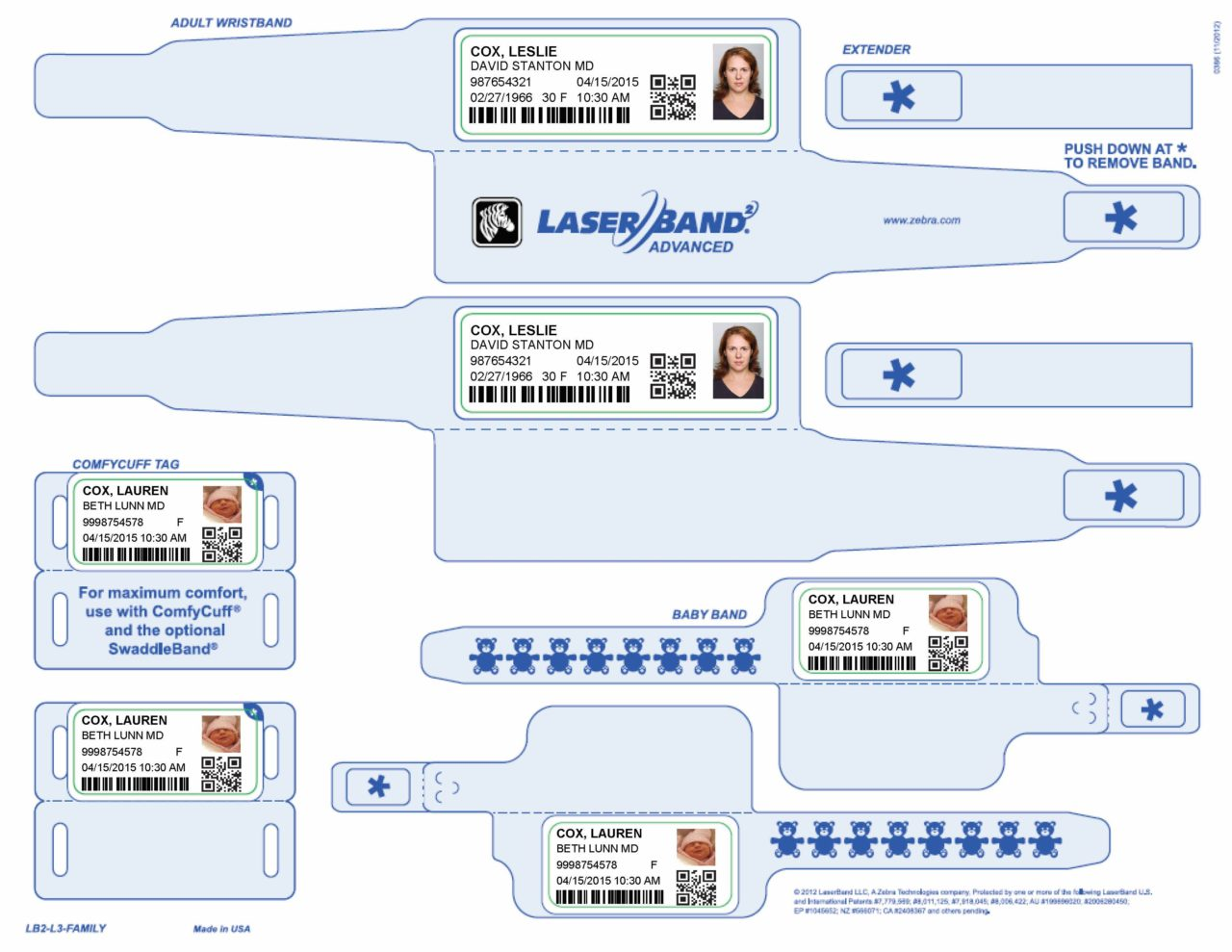 Sample Healthcare Labor and Delivery Wristbands and Labels