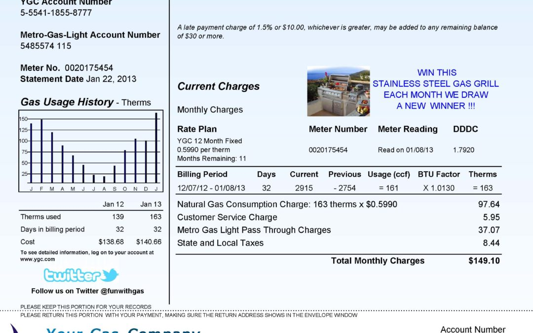 Sample Utility Gas Bill