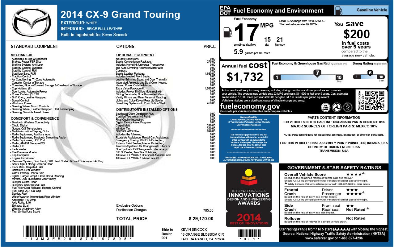 Sample Automotive Label