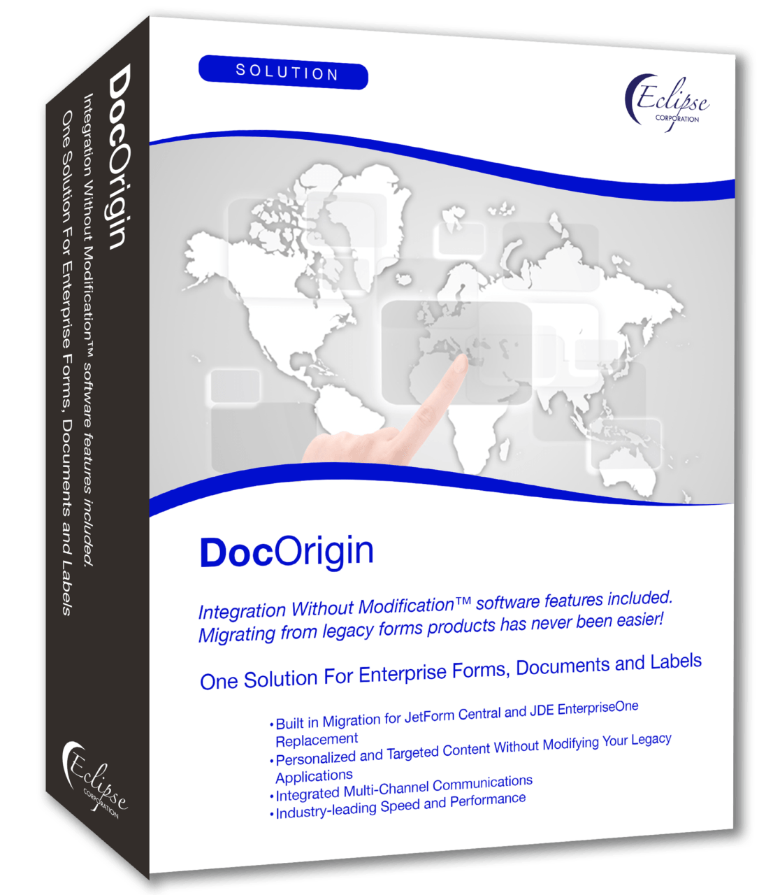 Graphic illustrating DocOrigin software for enterprise forms, checks and labels