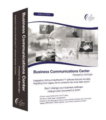 software box image for Business Communications Center software provided by DocOrigin and Eclipse Corp. for creative white space management