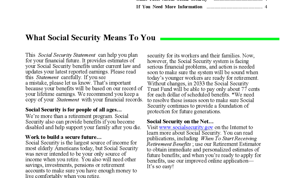 Universally Accessible Social Security Statement
