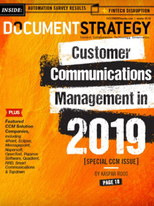 Document Strategy magazine cover: Customer Communications Management in 2019