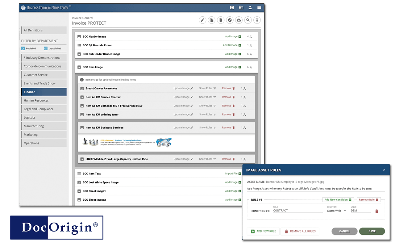screen shots illustrating Business Communications Management user interface