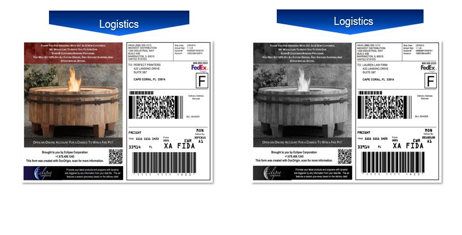 shipping label samples with color or black and white advertising.